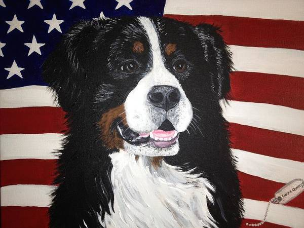 Service Dog Painting - Dog Heroes Of 9-11 by Linda Clavette Quigley