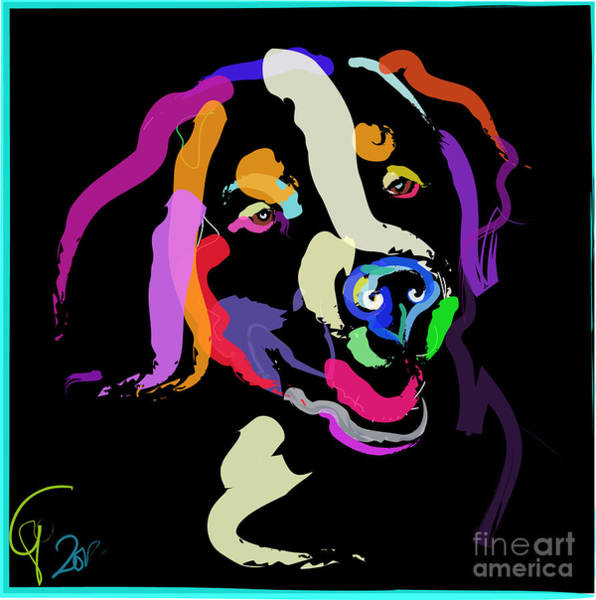 Painting - Dog Iggy Color Me Bright by Go Van Kampen