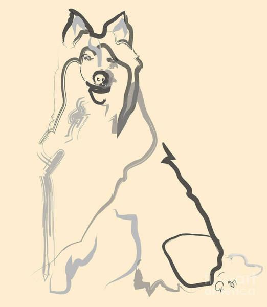 Painting - Dog - Lassie by Go Van Kampen