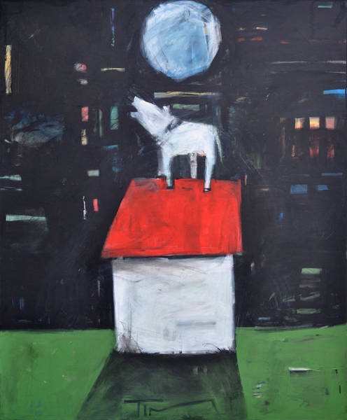 Painting - Dog On Roof Howls At Moon by Tim Nyberg