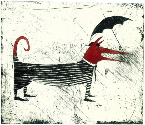 Dog Person With Umbrella Art Print by Tim Southall