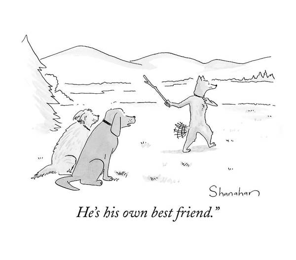 Trick Drawing - Dog Throwing Stick To Fetch Himself by Danny Shanahan