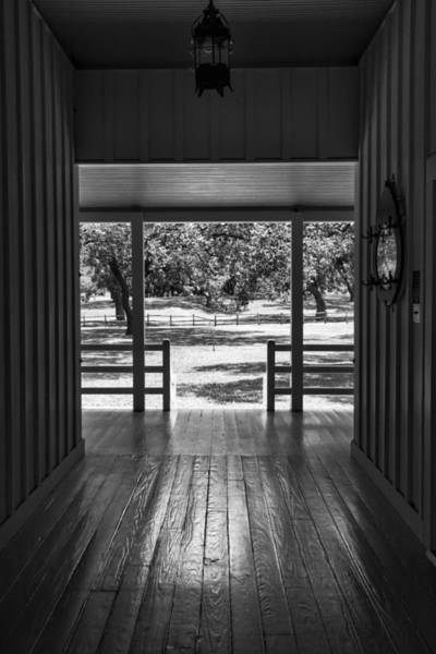 Photograph - Dog Trot At Lbj Birthplace Bw by Joan Carroll