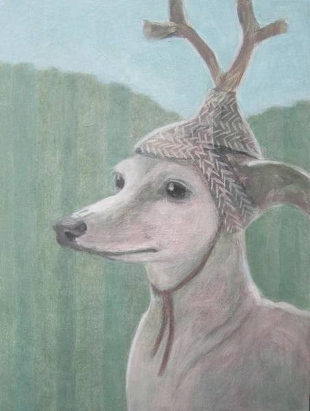 Painting - Dog With Antlers by Kazumi Whitemoon