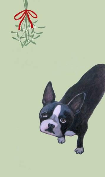 Painting - Dog With Mistletoe  by Kazumi Whitemoon