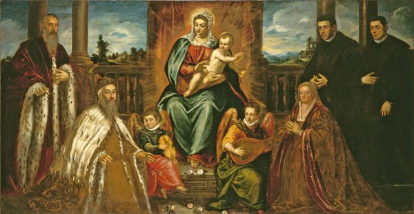 Wall Art - Painting - Doge Alvise Mocenigo And Family Before The Madonna And Child by Jacopo Robusti Tintoretto