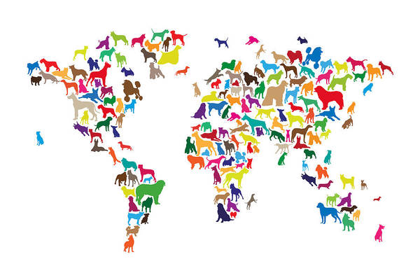Wall Art - Digital Art - Dogs Map Of The World Map by Michael Tompsett