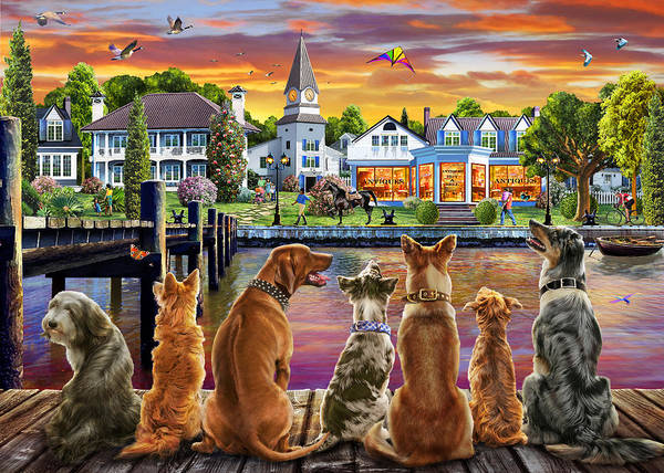 Wall Art - Drawing - Dogs On The Quay by MGL Meiklejohn Graphics Licensing