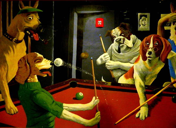 Anthropromorphic Photograph - Dogs Playing Pool Wall Art Unknown Painter by Kathy Barney