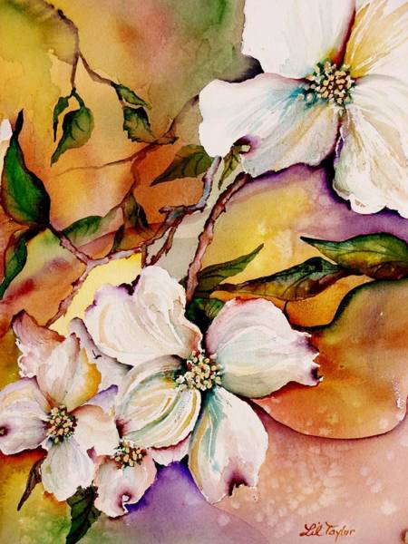 Blooming Tree Painting - Dogwood In Spring Colors by Lil Taylor