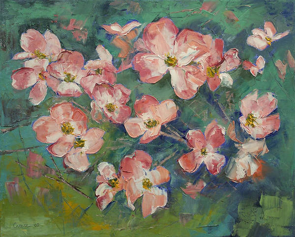 Dogwood Painting - Pink Dogwood by Michael Creese
