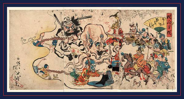 Wall Art - Drawing - Doke Hyakumanben, A Comic Buddhist Rosary Procession. 1864 by Kawanabe, Ky?sai Or Kawanabe, Gy?sai(1831?1889), Japanese