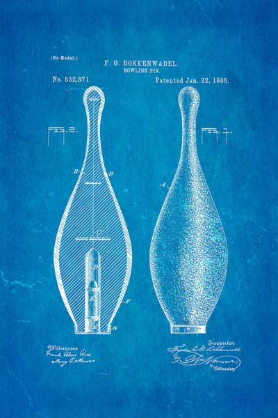 Ten Pin Bowling Wall Art - Photograph - Dokkenwadel Bowling Pin Patent Art 1895 Blueprint by Ian Monk