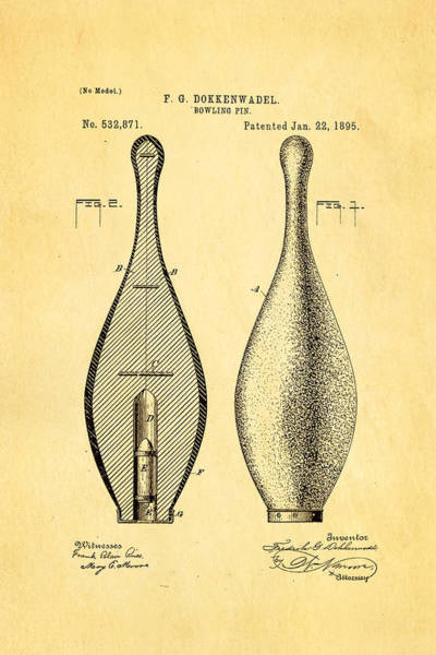 Ten Pin Bowling Wall Art - Photograph - Dokkenwadel Bowling Pin Patent Art 1895 by Ian Monk