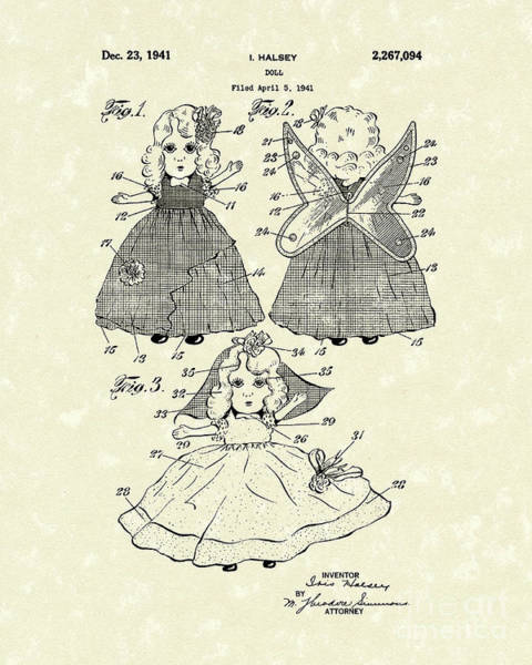 Wings Drawing - Doll 1941 Patent Art by Prior Art Design