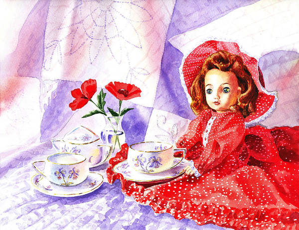 Wall Art - Painting - Doll At The Tea Party  by Irina Sztukowski
