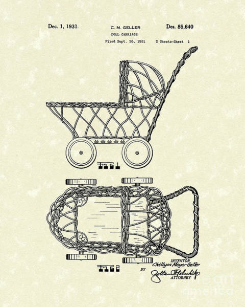 Drawing - Doll Carraige 1931 Patent Art by Prior Art Design