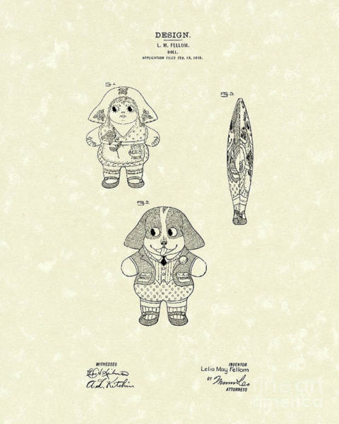 Drawing - Doll Patent Art by Prior Art Design