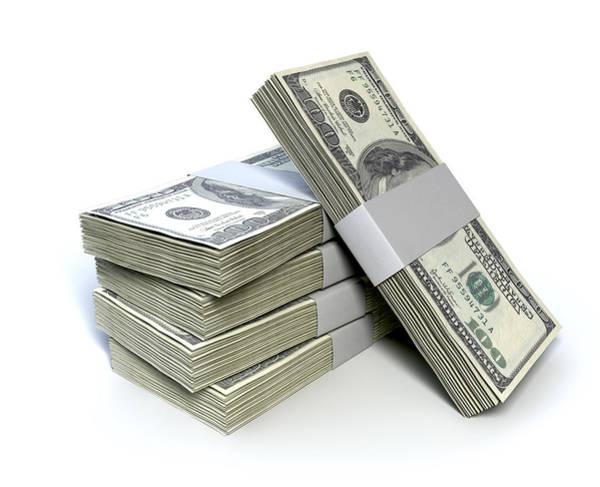 Hundred Wall Art - Digital Art - Dollar Bill Bundles Pile  by Allan Swart