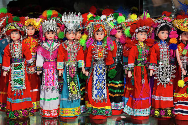 Ethnic Minority Photograph - Dolls On Display In Ethnic Native by Darrell Gulin