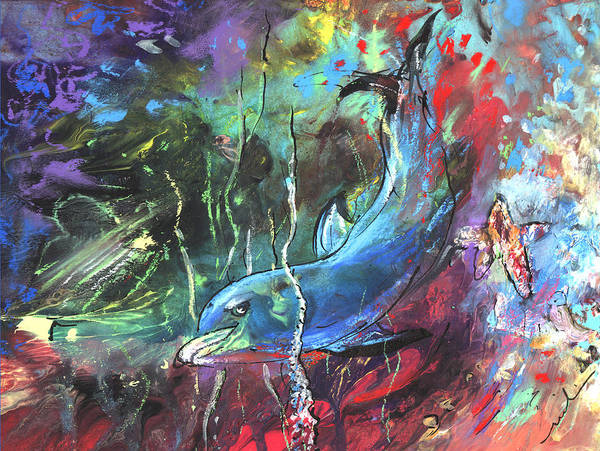 Painting - Dolphin Dives by Miki De Goodaboom