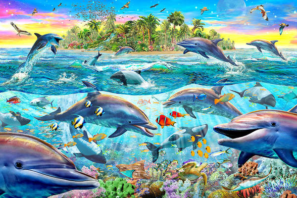 Wall Art - Digital Art - Dolphin Reef by MGL Meiklejohn Graphics Licensing
