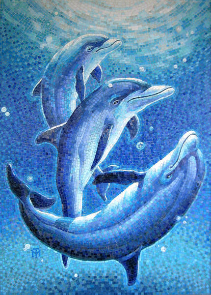 Sealife Painting - Dolphin Trio by Mia Tavonatti