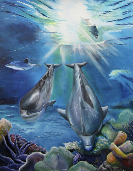 Dolphins Playing Art Print