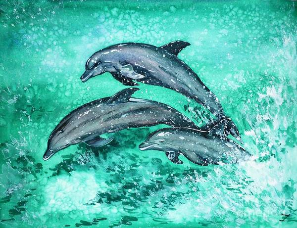 Nature Knows Best Wall Art - Painting - Dolphins  by Zaira Dzhaubaeva
