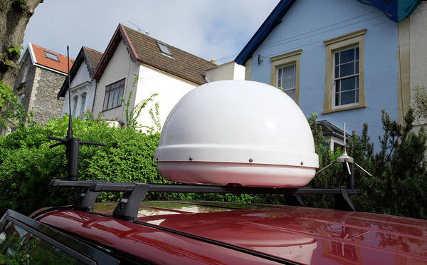 Satellite Dish Photograph - Dome Holding Satellite Dish On Radio Car by Adam Hart-davis/science Photo Library