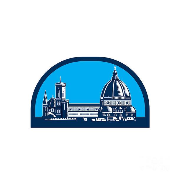 Duomo Di Firenze Wall Art - Digital Art - Dome Of Florence Cathedral Retro Woodcut by Aloysius Patrimonio