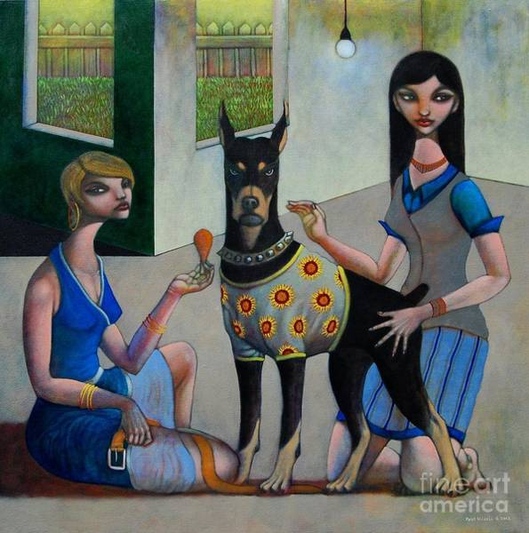 Doberman Wall Art - Painting - Domesticated by Paul Hilario