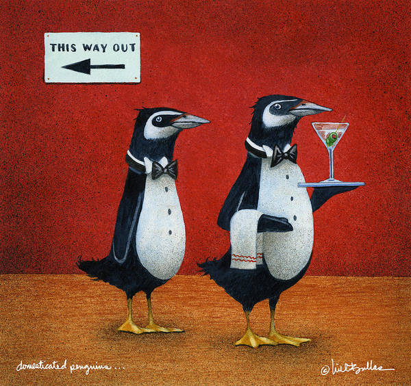 Penguin Painting - Domesticated Penguins... by Will Bullas