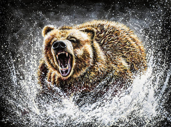 Bear Painting - Dominance by Teshia Art
