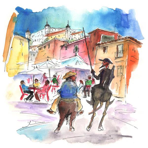 Castilla Drawing - Don Quijote And Sancho Panza Entering Toledo by Miki De Goodaboom