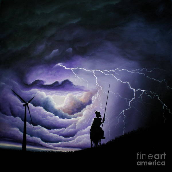 Lightening Painting - Don Quixote And The Giant by Ric Nagualero