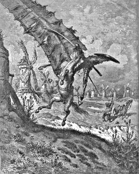 Attack Drawing - Don Quixote Attacks The Windmill Engraving by Gustave Dore