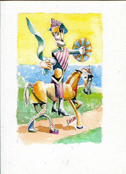 Man Of La Mancha Wall Art - Painting - Don Quixote By The Water by Michael Wilson