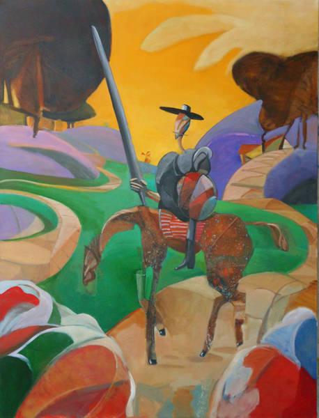 Man Of La Mancha Wall Art - Painting - Don Quixote Encounters Pigrims Upon The Road by Michael Wilson