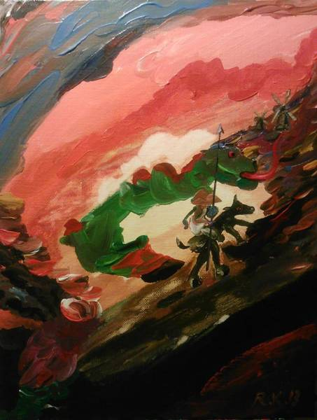Painting - Don Quixote Fighting The Dragon by Ray Khalife