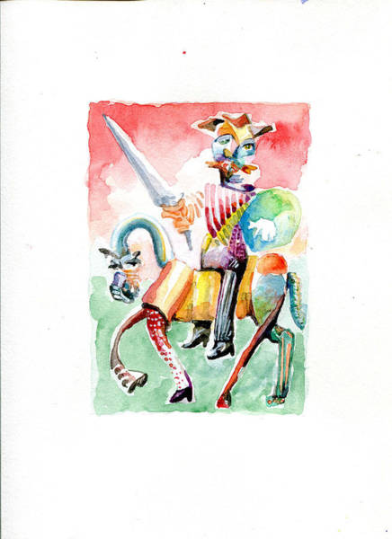 Man Of La Mancha Wall Art - Painting - Don Quixote Riding Rosinante With A Rainbow Butt by Michael Wilson