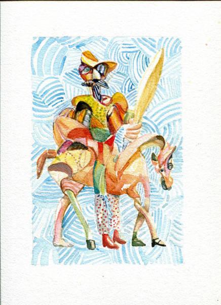 Man Of La Mancha Wall Art - Painting - Don Quixote Wearing Red Polka Dot Pants by Michael Wilson
