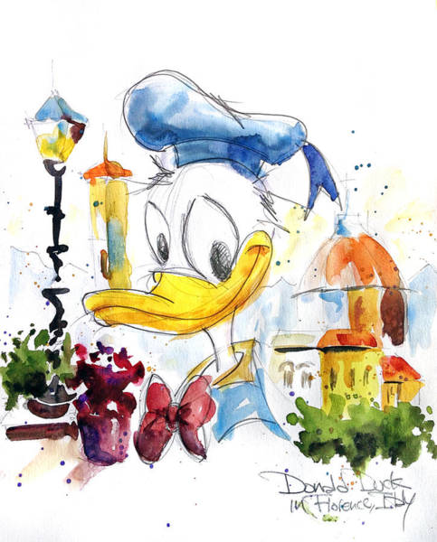 Disney Wall Art - Painting - Donald Duck In Florence Italy by Andrew Fling