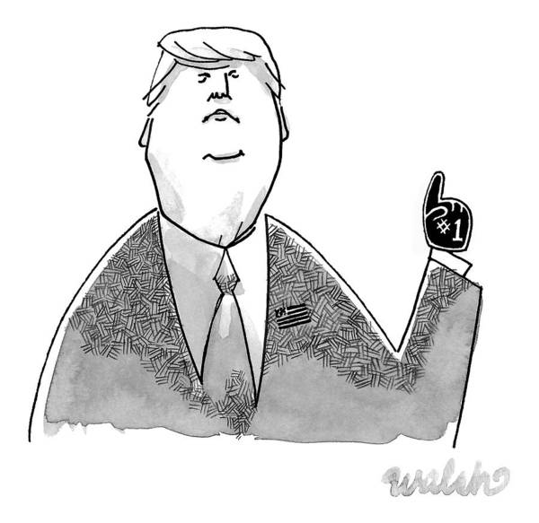 Donald Trump Drawing - Donald Trump Wearing A Tiny #1 Foam Finger by Liam Walsh