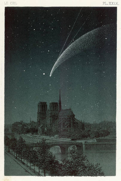 Wall Art - Drawing - Donati's Comet Observed Over  Paris by Mary Evans Picture Library