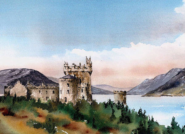 Mixed Media - Donegal Glenveagh Castle by Val Byrne