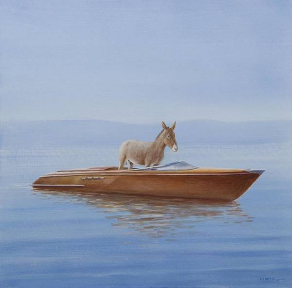 Water Transport Photograph - Donkey In A Riva, 2010 Acrylic On Canvas by Lincoln Seligman