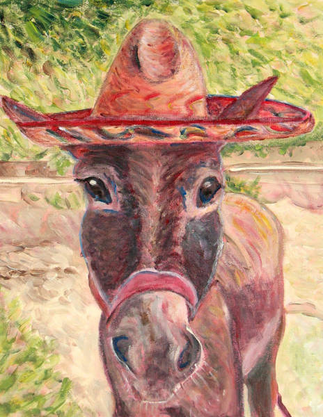 Sombrero Painting - Donkey Named Lupe by Jodie  Scheller