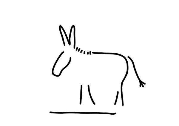 Lineart Drawing - Donkey Stubbornness by Lineamentum