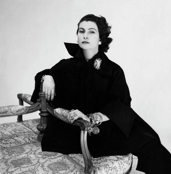 Italian Actress Wall Art - Photograph - Donna Simonetta Colonna Di Cesaro Wearing A Silk by Clifford Coffin